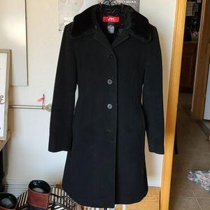 Ann Klein Wool Blend Coat/faux fur collar